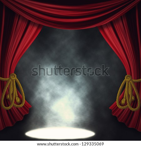 Theater stage with open red curtain and three spotlights and smoke. - stock photo