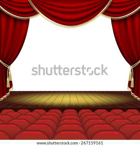 Theater stage  with red curtain. - stock photo