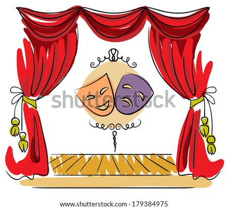 Theater stage with red curtain and masks illustration - stock photo