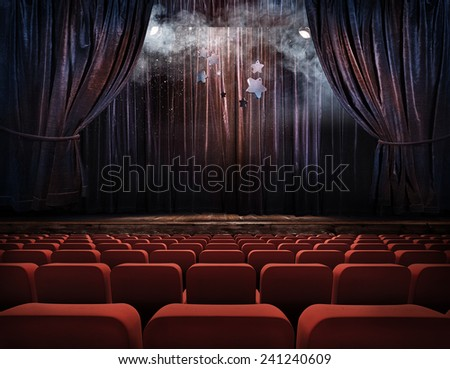 Theater stage with red curtains  - stock photo