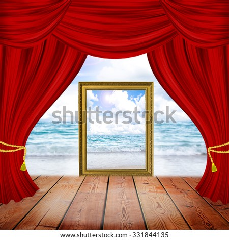 Theater stage with red curtains and spotlights. Theatrical scene in the light of searchlights, the interior of the old theater.View of sea and blue sky - stock photo