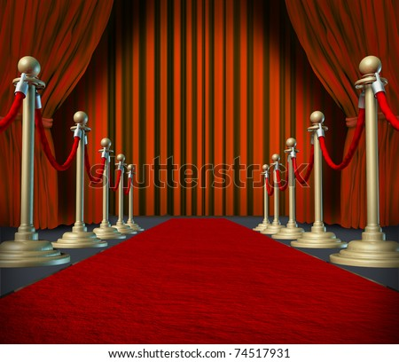 Theater stage with red velvet cinema curtain drapes and brass dividers on important carpet.