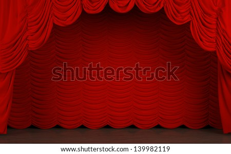 Theater stage with red velvet curtain. - stock photo