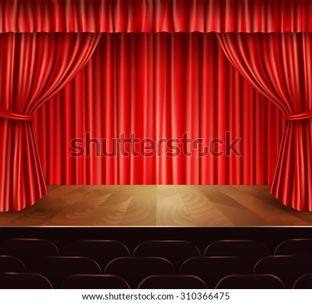 Theater stage with seats red velvet open retro style curtain background  illustration