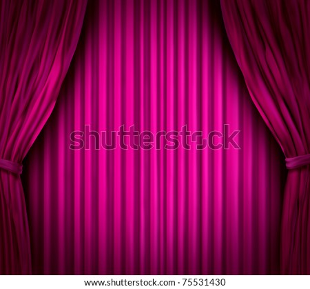 Theater stage with spot light on pink velvet cinema curtain drapes. - stock photo