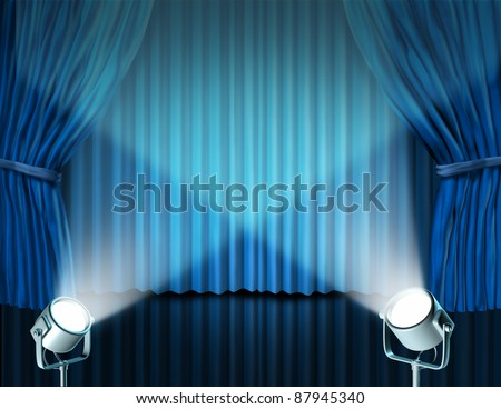 Theater stage with spotlights on blue velvet cinema curtain and drapes representing the entertainment communications concept of an important announcement in a rich cinema and theater environment. - stock photo
