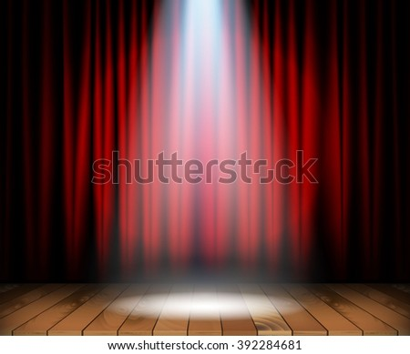 Theater stage with wooden floor - stock photo