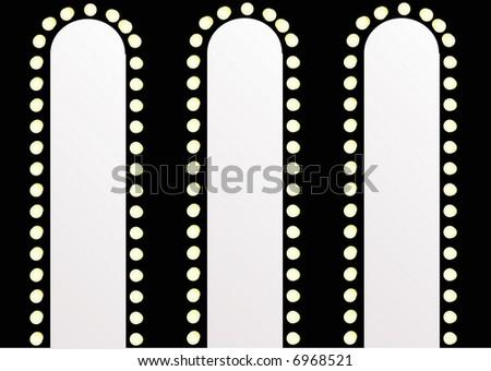 theater style design mirror and lightbulbs - stock photo