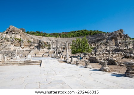 Theatre and Arcadian Street (Harbor Street), Ephesus Turkey. Ephesus contains the ancient largest collection of Roman ruins in the eastern Mediterranean.  - stock photo