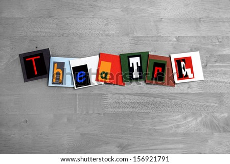 Theatre - art sign for The Arts, Plays, Acting and Performance - stock photo