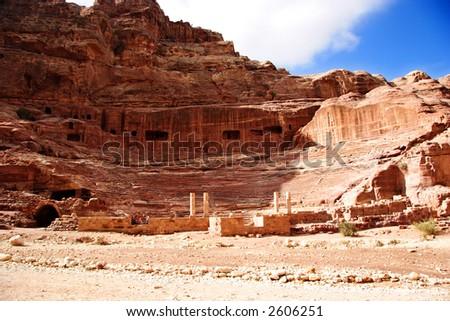 Theatre at Petra, Jordan - stock photo