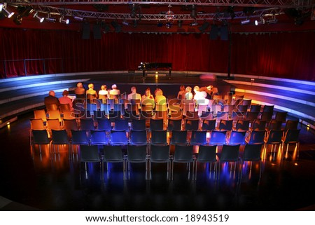 Theatre audience awaiting act in Tempodrom theatre in berlin, germany - stock photo