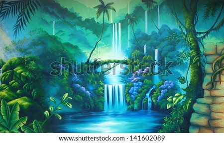 theatre backdrop featuring a rainforest - stock photo