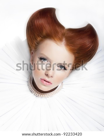 Theatre. Baroque style  -  young red hair female in white jabot and  pearls. Dramatic festive makeup. Close up portrait - series of photos