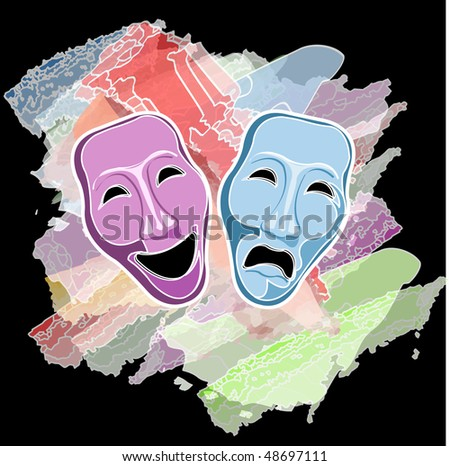 theatre comedy and tragedy masks - stock photo