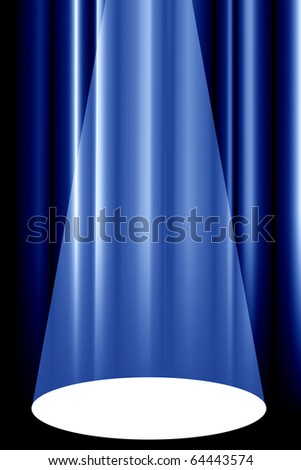 theatre curtain with spotlight - stock photo
