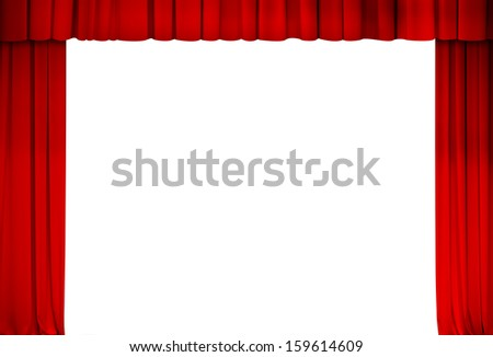 theatre red curtain frame isolate - stock photo