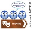 Theatre sign with bird reciting from a play - stock photo