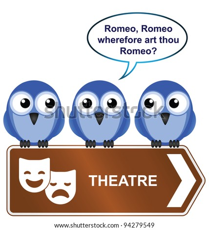 Theatre sign with bird reciting from a play