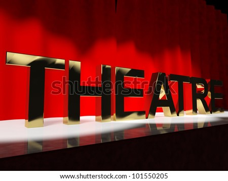 Theatre Word On Stage Representing Broadway The West End Or Acting - stock photo