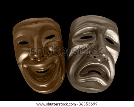 Theatrical comedy and tragedy masks, isolated on black. - stock photo
