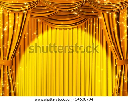 Theatrical curtain - stock photo