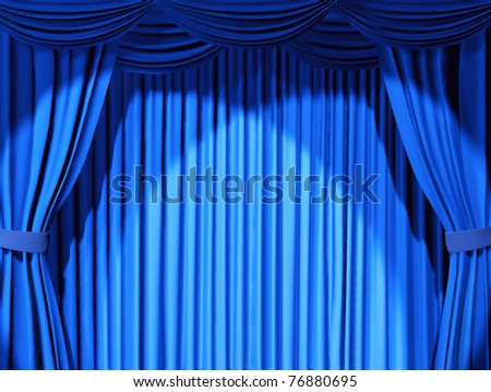 Theatrical curtain of blue color - 3d - stock photo