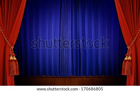 Theatrical curtain of red and blue color   - stock photo