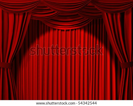 Theatrical curtain of red color