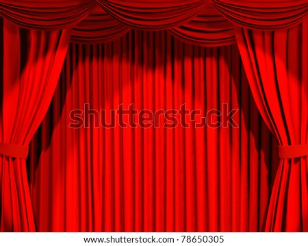 Theatrical curtain of red color - 3d - stock photo