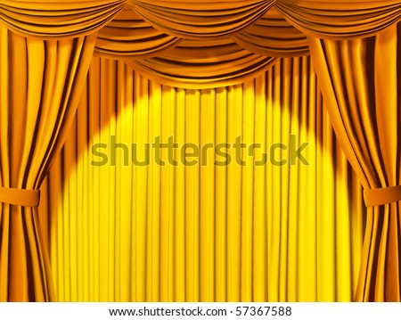 Theatrical curtain of yellow color - stock photo