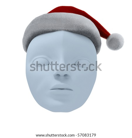 Theatrical mask and Santa's hat. Isolated on white