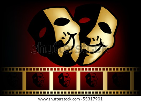 theatrical mask of tragedy and comedy - stock photo