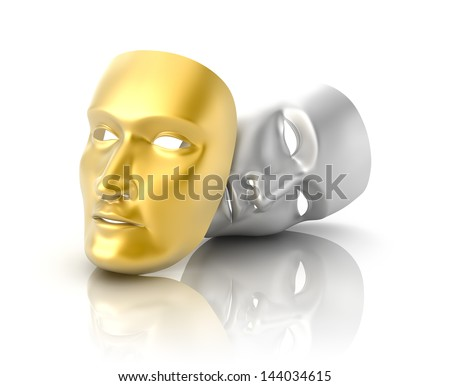 Theatrical mask on a white background - stock photo