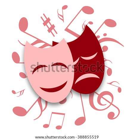 Theatrical masks and musical symbols - stock photo