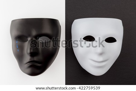 Theatrical masks expressing happy and sad emotions. Depression emotional concept. - stock photo