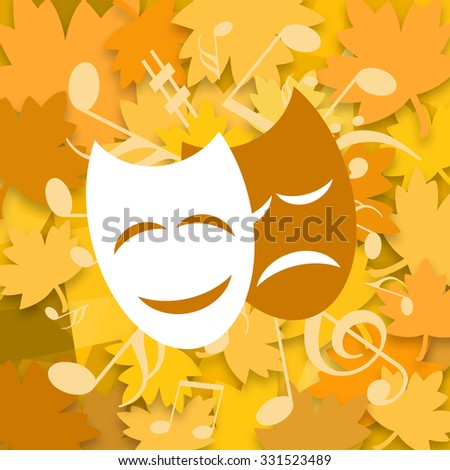 Theatrical masks, musical symbols on yellow autumn leaves background - stock photo