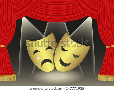 Theatrical masks on red curtains background - stock photo