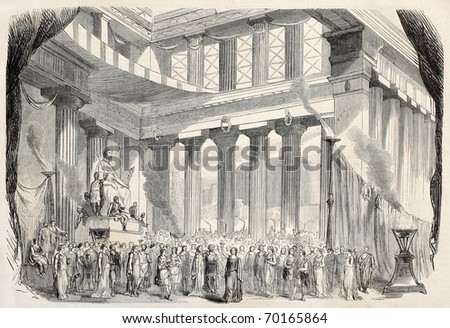 Theatrical representation of Baucis and Philemon, Gounod's opera from Ovid's fable. From drawing of Lefman, on decor of Cambon and Thierry, published on L'Illustration, Journal Universel, Paris, 1860 - stock photo