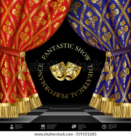 Theatrical template with blue and red vintage ornamental curtains, gold masks on black background and web icons - stock photo