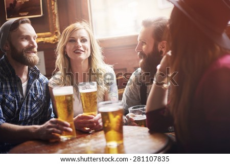 Their favourite bar with the best beer - stock photo