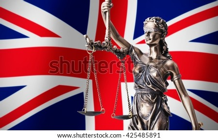 Theism with scale, symbol of justice on UK flag background composition