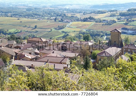Theize is a typical village of warm golden stones in the Beaujoleais country - stock photo