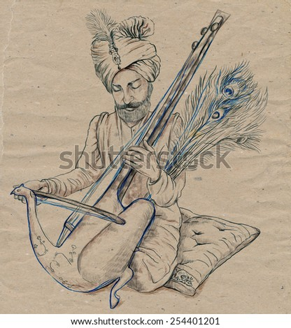 Theme: Music and Musicians. Taus player. A hand drawn illustration, full sized - original. Version: Freehand sketch on old paper. - stock photo