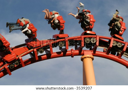 Theme Park Roller Coaster Close up - stock photo