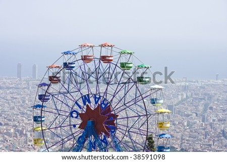 theme park with big wheel at tibidabo, barcelona - stock photo
