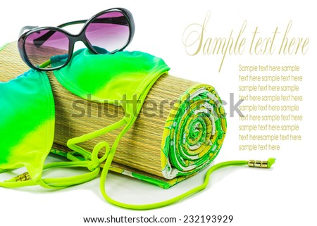 Theme with beach accessories isolated on white - stock photo