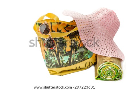 Theme with beach accessories isolated on white