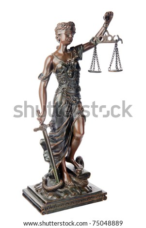 Themis, mythological Greek goddess, symbol of justice, blind and holding empty balance in one hand and sword in another, standing on defeated snake and book, isolated on white background - stock photo