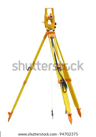 Theodolite isolated on a white background - stock photo
